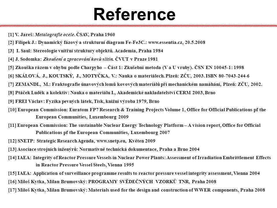 Reference [1] V.Jareš: Metalografie ocele.