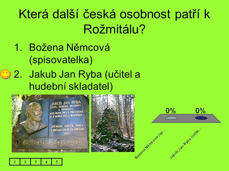 Která další česká osobnost patří k Rožmitálu? 12345 1.Božena Němcová (spisovatelka) 2.Jakub Jan Ryba (učitel a hudební skladatel)
