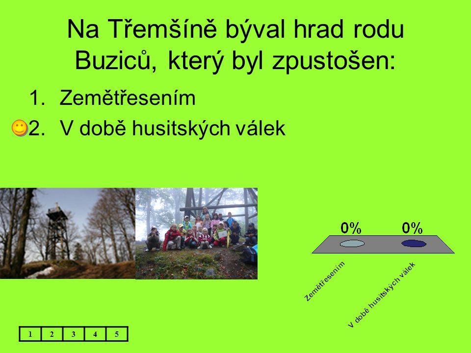 Na Třemšíně býval hrad rodu Buziců, který byl zpustošen: 1.Zemětřesením 2.V době husitských válek 12345