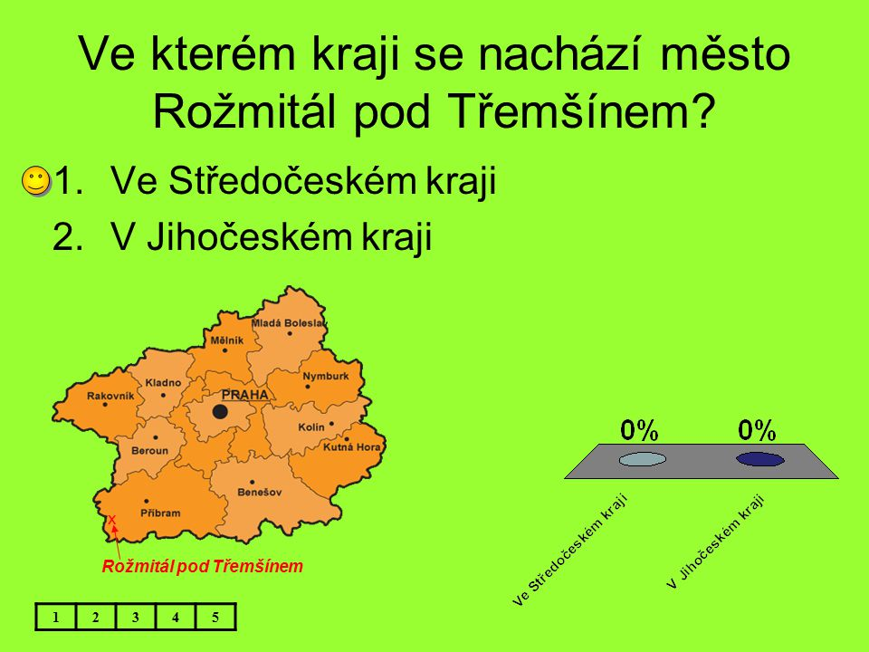 Ve kterém kraji se nachází město Rožmitál pod Třemšínem? 12345 1.Ve Středočeském kraji 2.V Jihočeském kraji x Rožmitál pod Třemšínem