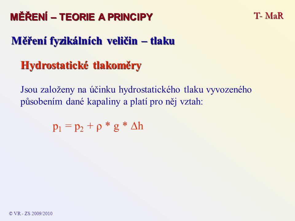 T- MaR MĚŘENÍ – TEORIE A PRINCIPY © VR - ZS 2009/2010 A Měření fyzikálních veličin – tlaku Hydrostatické tlakoměry Jsou založeny na účinku hydrostatic