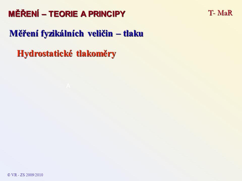 T- MaR MĚŘENÍ – TEORIE A PRINCIPY © VR - ZS 2009/2010 A Měření fyzikálních veličin – tlaku Hydrostatické tlakoměry