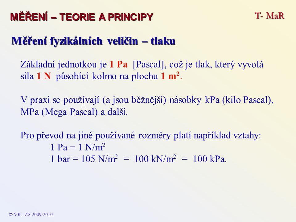 T- MaR MĚŘENÍ – TEORIE A PRINCIPY © VR - ZS 2009/2010 A Měření fyzikálních veličin – tlaku Základní jednotkou je 1 Pa [Pascal], což je tlak, který vyvolá síla 1 N působící kolmo na plochu 1 m 2.