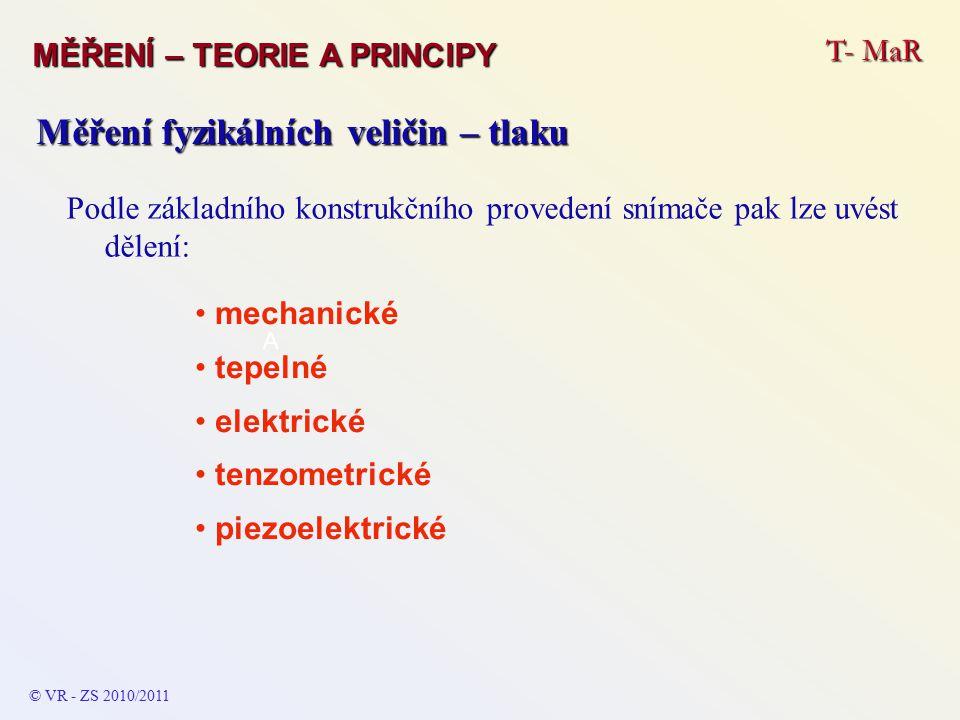 T- MaR MĚŘENÍ – TEORIE A PRINCIPY © VR - ZS 2010/2011 A Měření fyzikálních veličin – tlaku Podle základního konstrukčního provedení snímače pak lze uv