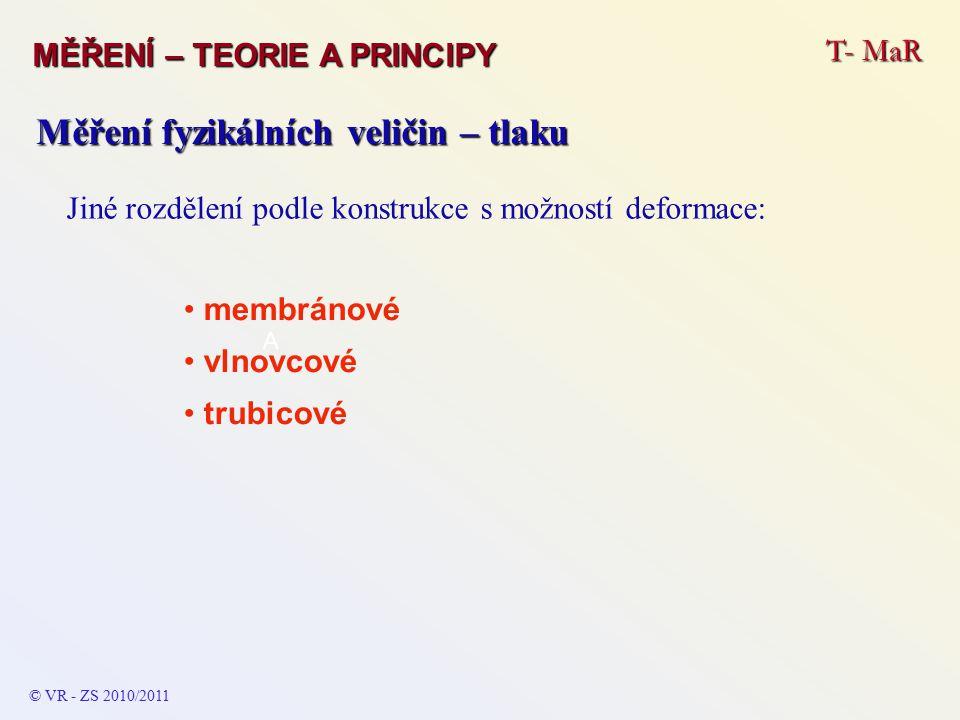 T- MaR MĚŘENÍ – TEORIE A PRINCIPY © VR - ZS 2010/2011 A Měření fyzikálních veličin – tlaku Jiné rozdělení podle konstrukce s možností deformace: membránové vlnovcové trubicové