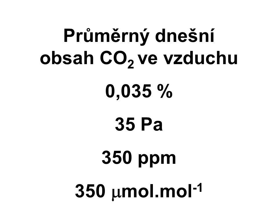Průměrný dnešní obsah CO 2 ve vzduchu 0,035 % 35 Pa 350 ppm 350  mol.mol -1