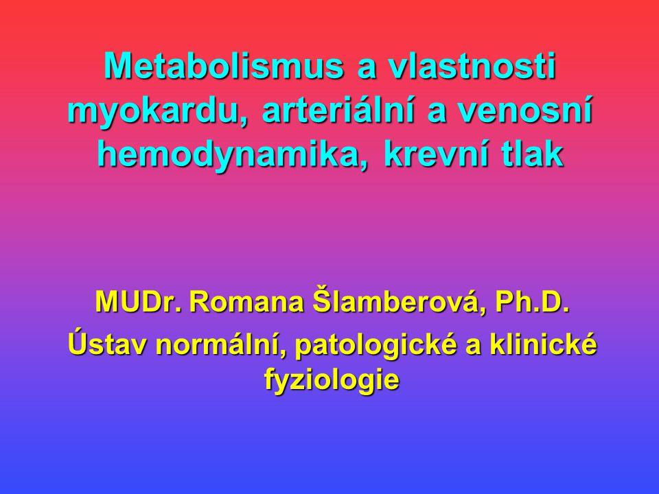 Metabolismus a vlastnosti myokardu, arteriální a venosní hemodynamika, krevní tlak MUDr. Romana Šlamberová, Ph.D. Ústav normální, patologické a klinic