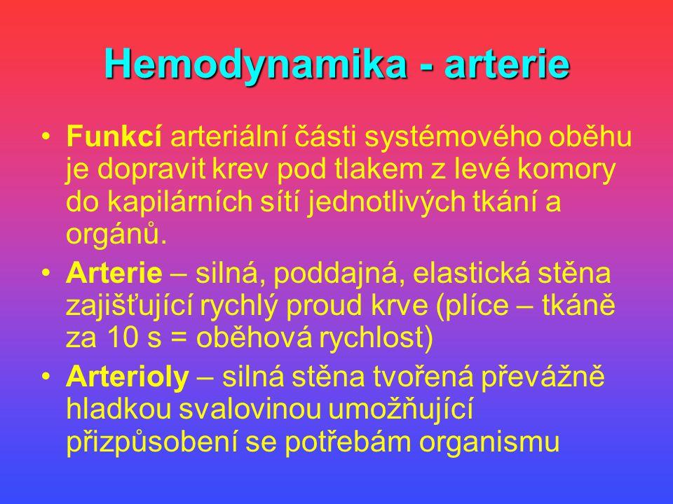Hemodynamika - arterie Funkcí arteriální části systémového oběhu je dopravit krev pod tlakem z levé komory do kapilárních sítí jednotlivých tkání a or