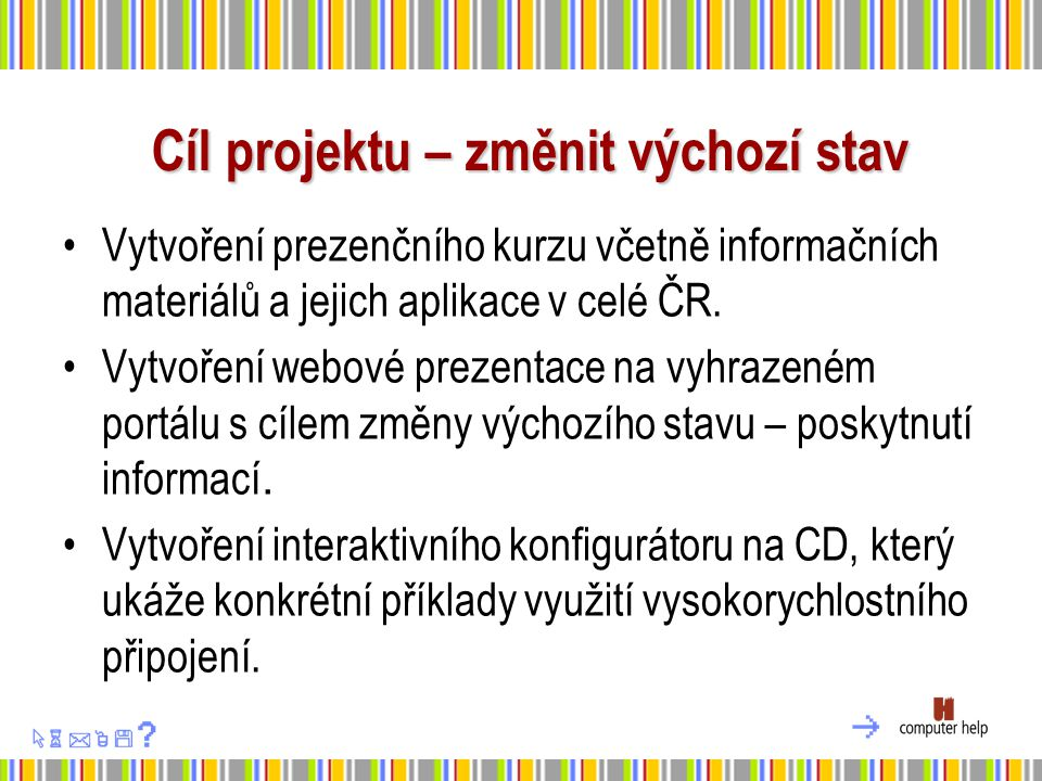 Cíl projektu – změnit výchozí stav Vytvoření prezenčního kurzu včetně informačních materiálů a jejich aplikace v celé ČR.