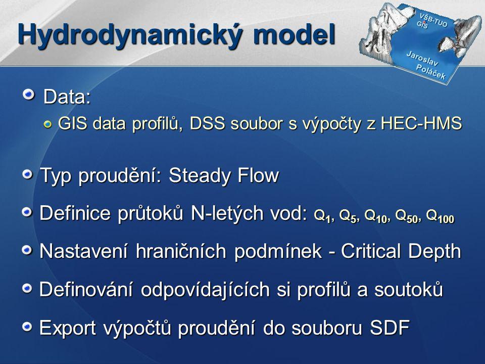 Jaroslav Poláček Jaroslav Poláček VŠB-TUO GIS VŠB-TUO GIS Hydrodynamický model Definování odpovídajících si profilů a soutoků Definice průtoků N-letých vod: Q 1, Q 5, Q 10, Q 50, Q 100 Nastavení hraničních podmínek - Critical Depth Data: GIS data profilů, DSS soubor s výpočty z HEC-HMS Typ proudění: Steady Flow Export výpočtů proudění do souboru SDF