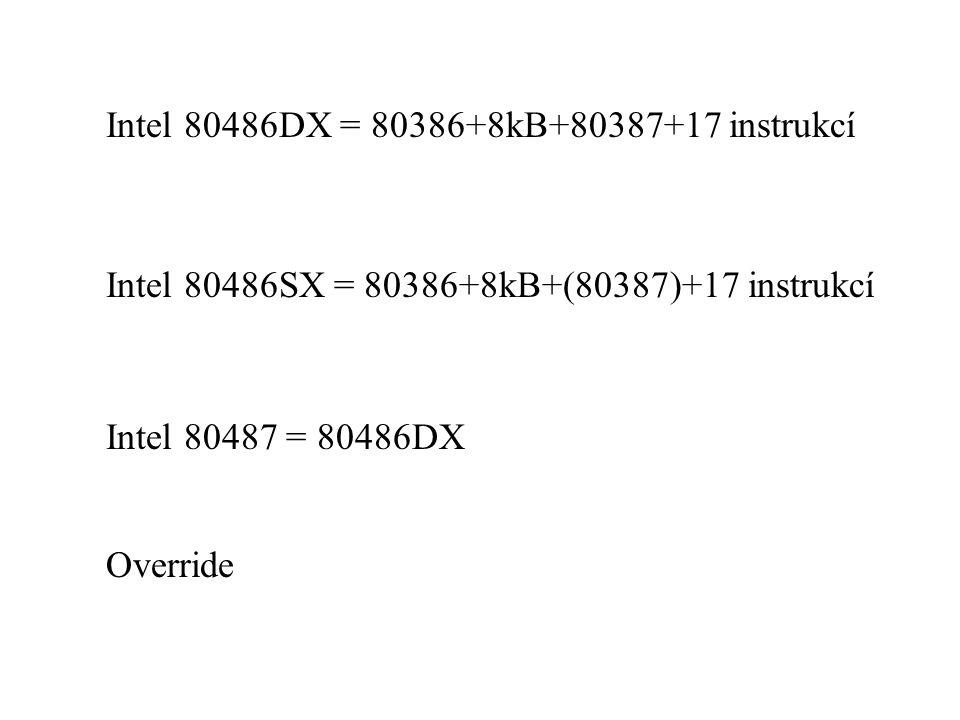 Intel 80486DX = 80386+8kB+80387+17 instrukcí Intel 80486SX = 80386+8kB+(80387)+17 instrukcí Intel 80487 = 80486DX Override
