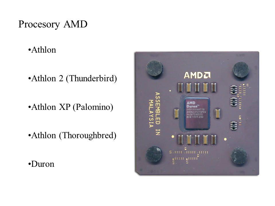 Procesory AMD Athlon Athlon 2 (Thunderbird) Athlon XP (Palomino) Athlon (Thoroughbred) Duron