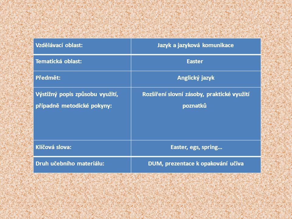 Vzdělávací oblast:Jazyk a jazyková komunikace Tematická oblast:Easter Předmět:Anglický jazyk Výstižný popis způsobu využití, případně metodické pokyny: Rozšíření slovní zásoby, praktické využití poznatků Klíčová slova: Easter, egs, spring… Druh učebního materiálu:DUM, prezentace k opakování učiva