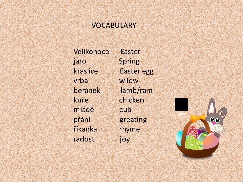 Škrtni, co nepatří k Velikonocům: eggs, jingle bells, greating, lamb, tree, willow, winter, carp, carols, joy, Přelož: Easter ………………...