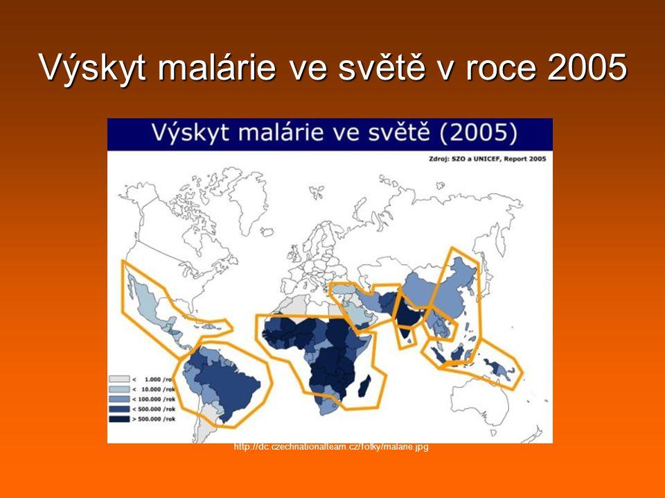 Výskyt malárie ve světě v roce 2005 http://dc.czechnationalteam.cz/fotky/malarie.jpg