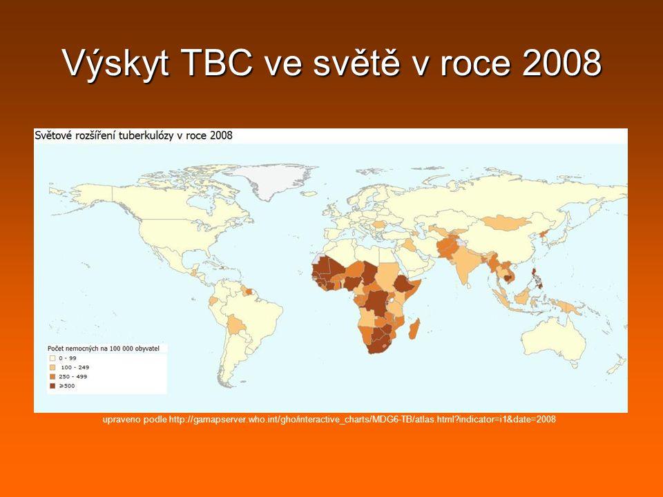 Výskyt TBC ve světě v roce 2008 upraveno podle http://gamapserver.who.int/gho/interactive_charts/MDG6-TB/atlas.html?indicator=i1&date=2008