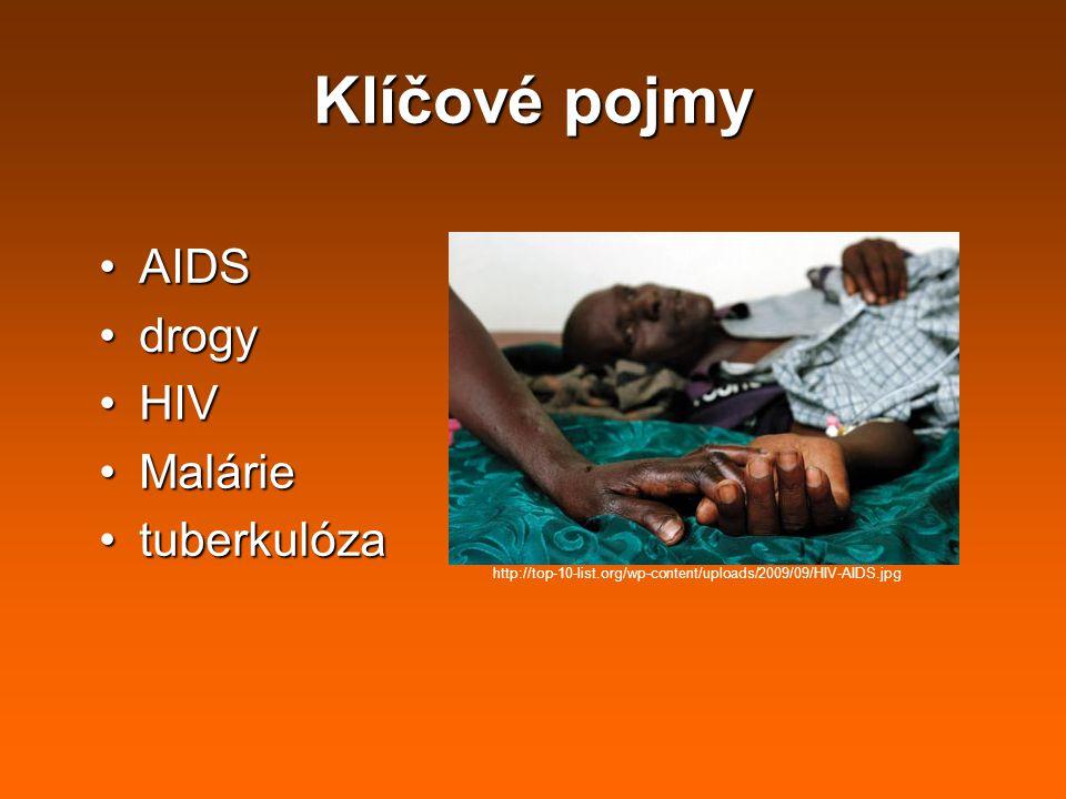 Klíčové pojmy AIDSAIDS drogydrogy HIVHIV MalárieMalárie tuberkulózatuberkulóza http://top-10-list.org/wp-content/uploads/2009/09/HIV-AIDS.jpg