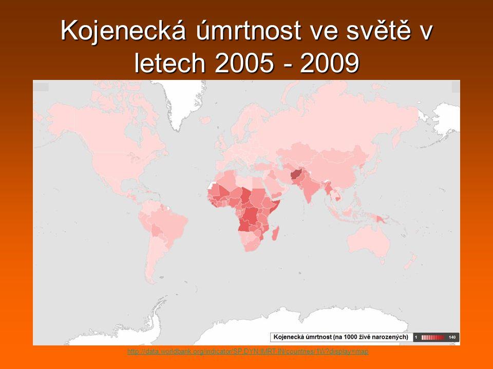 Kojenecká úmrtnost ve světě v letech 2005 - 2009 http://data.worldbank.org/indicator/SP.DYN.IMRT.IN/countries/1W?display=map