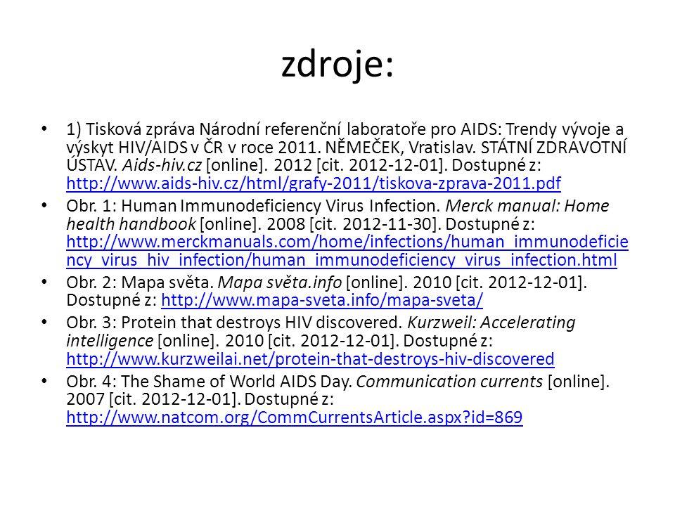 zdroje: 1) Tisková zpráva Národní referenční laboratoře pro AIDS: Trendy vývoje a výskyt HIV/AIDS v ČR v roce 2011. NĚMEČEK, Vratislav. STÁTNÍ ZDRAVOT
