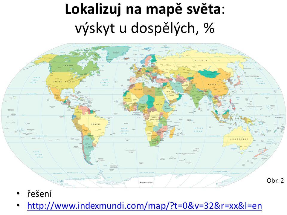 Lokalizuj na mapě světa: výskyt u dospělých, % řešení http://www.indexmundi.com/map/?t=0&v=32&r=xx&l=en Obr. 2