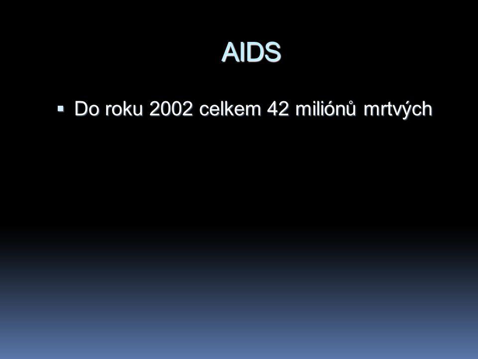 AIDS  Do roku 2002 celkem 42 miliónů mrtvých