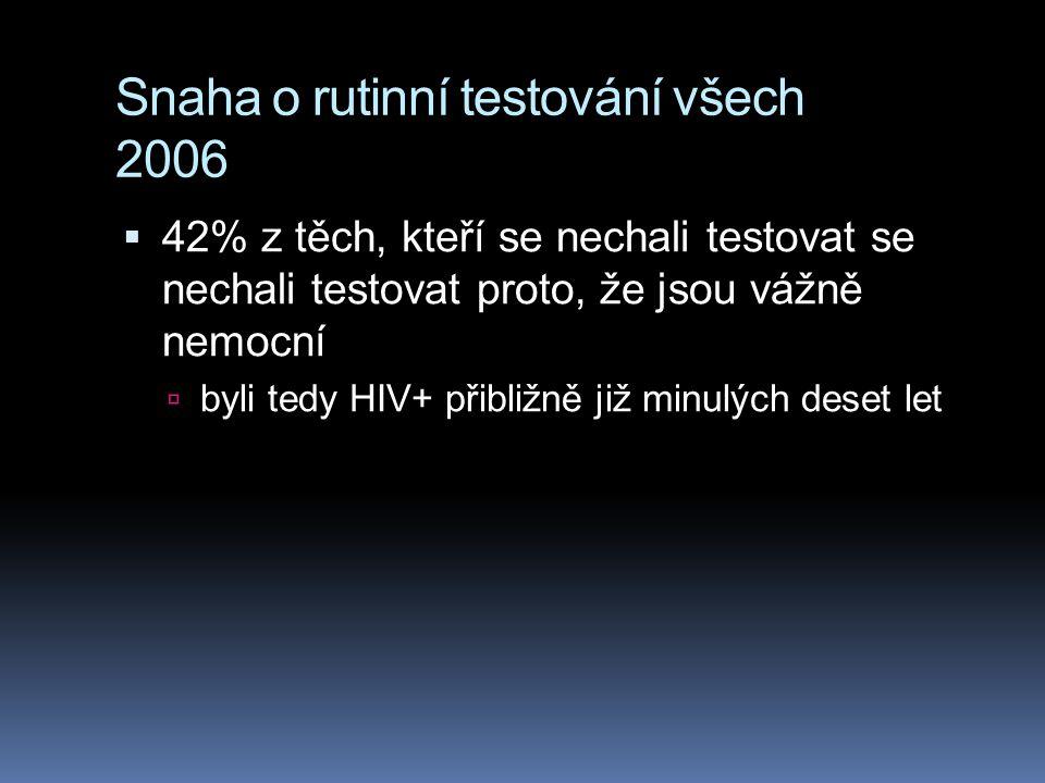 Snaha o rutinní testování všech 2006  42% z těch, kteří se nechali testovat se nechali testovat proto, že jsou vážně nemocní  byli tedy HIV+ přibliž