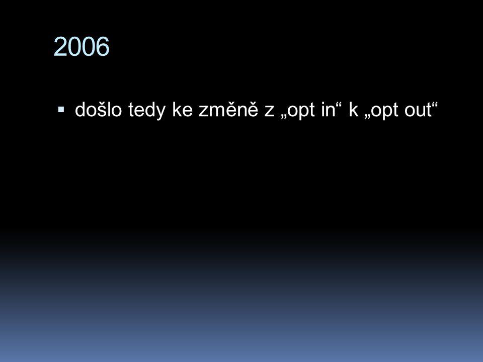 """2006  došlo tedy ke změně z """"opt in"""" k """"opt out"""""""