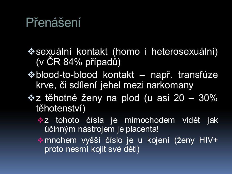 Přenášení  sexuální kontakt (homo i heterosexuální) (v ČR 84% případů)  blood-to-blood kontakt – např. transfúze krve, či sdílení jehel mezi narkoma
