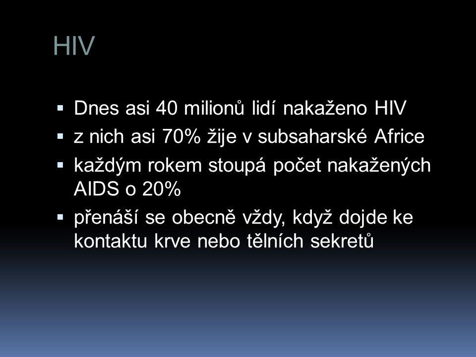 HIV  Dnes asi 40 milionů lidí nakaženo HIV  z nich asi 70% žije v subsaharské Africe  každým rokem stoupá počet nakažených AIDS o 20%  přenáší se