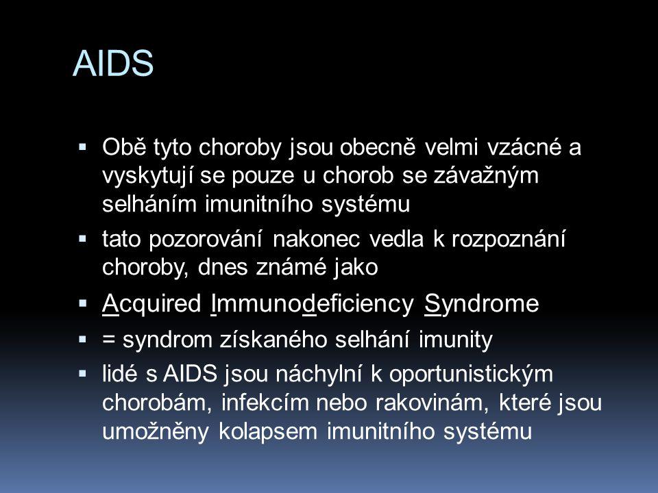 AIDS  Virus HIV byl izolován v roce 1983 (Robert Gallo, USA a Luc Montagnier, Francie).