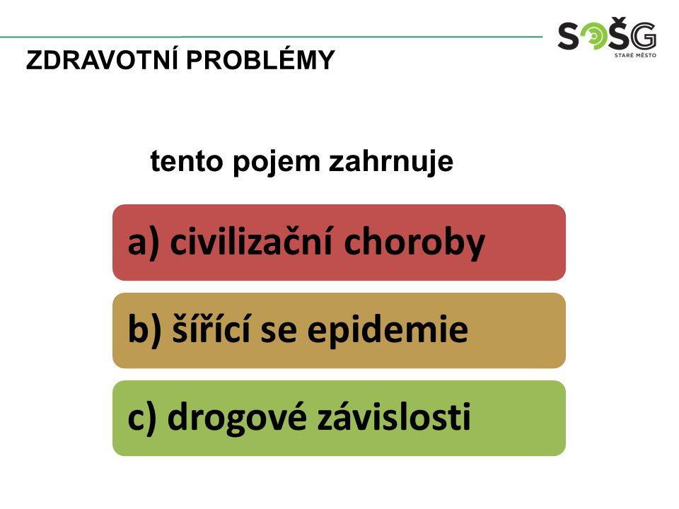 ZDRAVOTNÍ PROBLÉMY a) civilizační chorobyb) šířící se epidemiec) drogové závislosti tento pojem zahrnuje