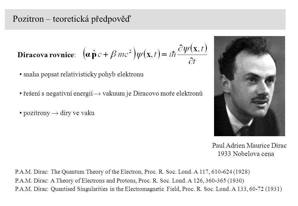 Pozitron – teoretická předpověď Diracova rovnice: snaha popsat relativisticky pohyb elektronu řešení s negativní energií  vakuum je Diracovo moře ele
