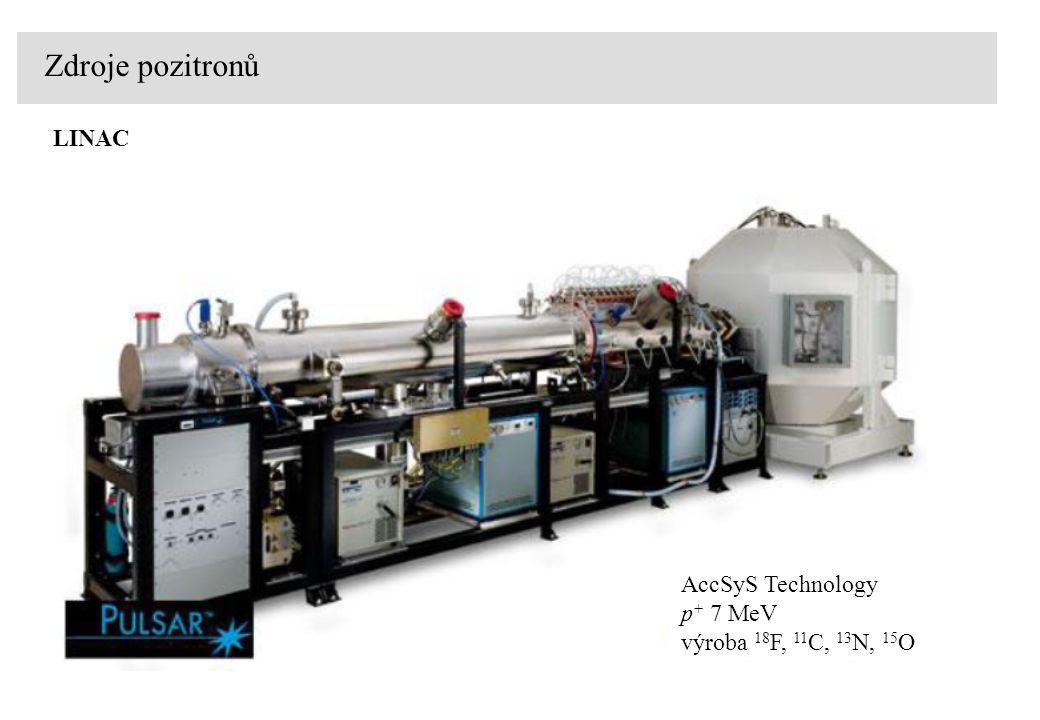 Zdroje pozitronů LINAC AccSyS Technology p + 7 MeV výroba 18 F, 11 C, 13 N, 15 O