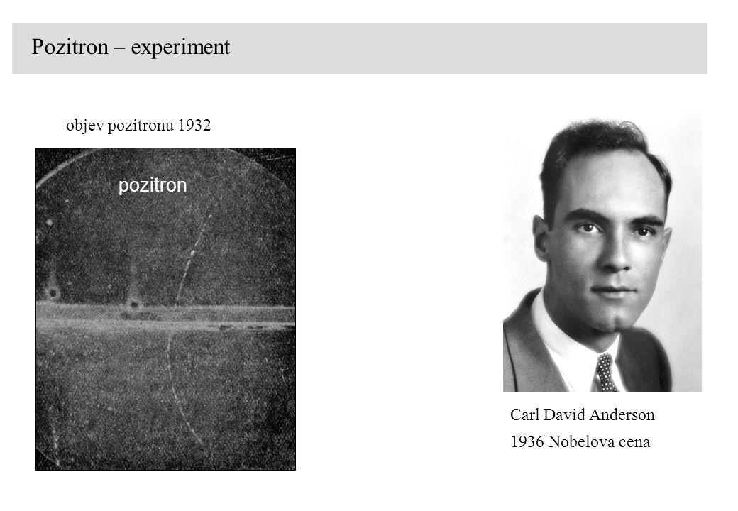 Pozitron – experiment objev pozitronu 1932 pozitron Carl David Anderson 1936 Nobelova cena