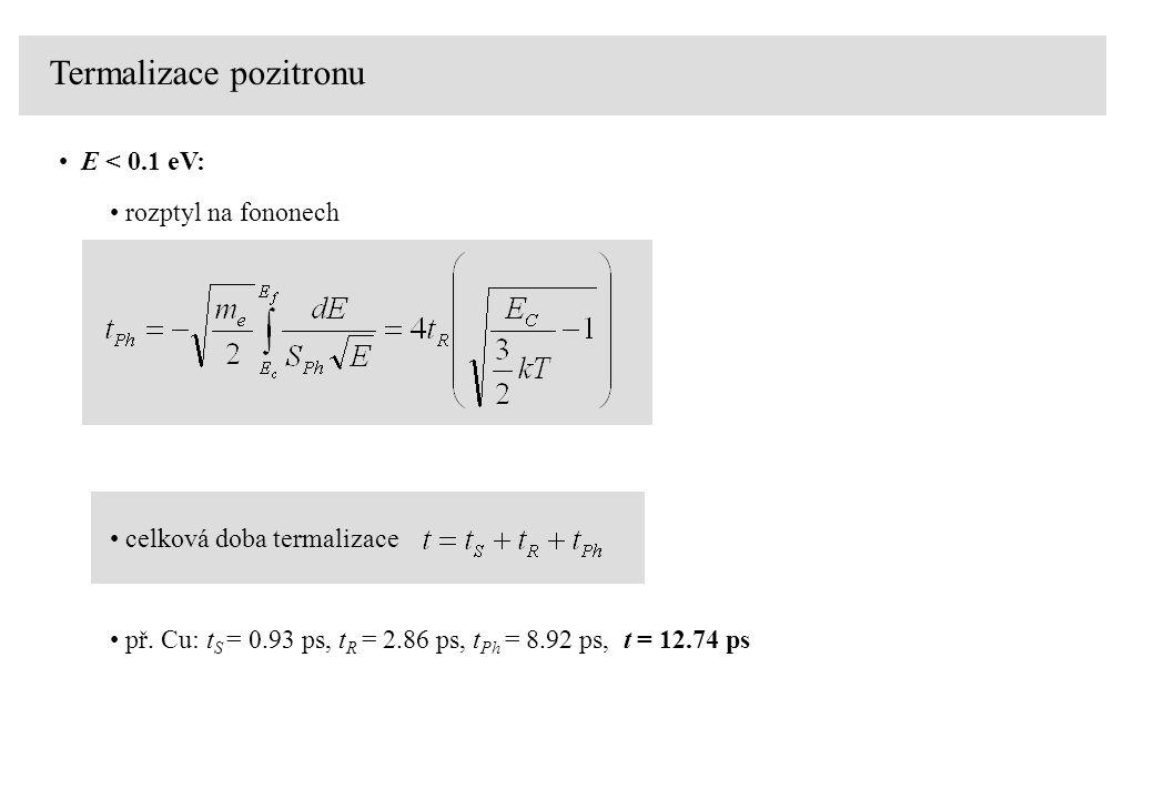 E < 0.1 eV: rozptyl na fononech celková doba termalizace př. Cu: t S = 0.93 ps, t R = 2.86 ps, t Ph = 8.92 ps, t = 12.74 ps