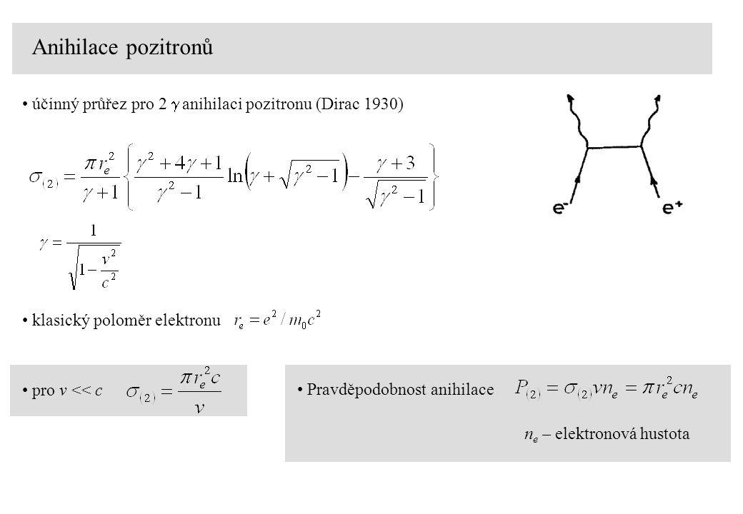 Anihilace pozitronů účinný průřez pro 2  anihilaci pozitronu (Dirac 1930) pro v << c klasický poloměr elektronu Pravděpodobnost anihilace n e – elekt