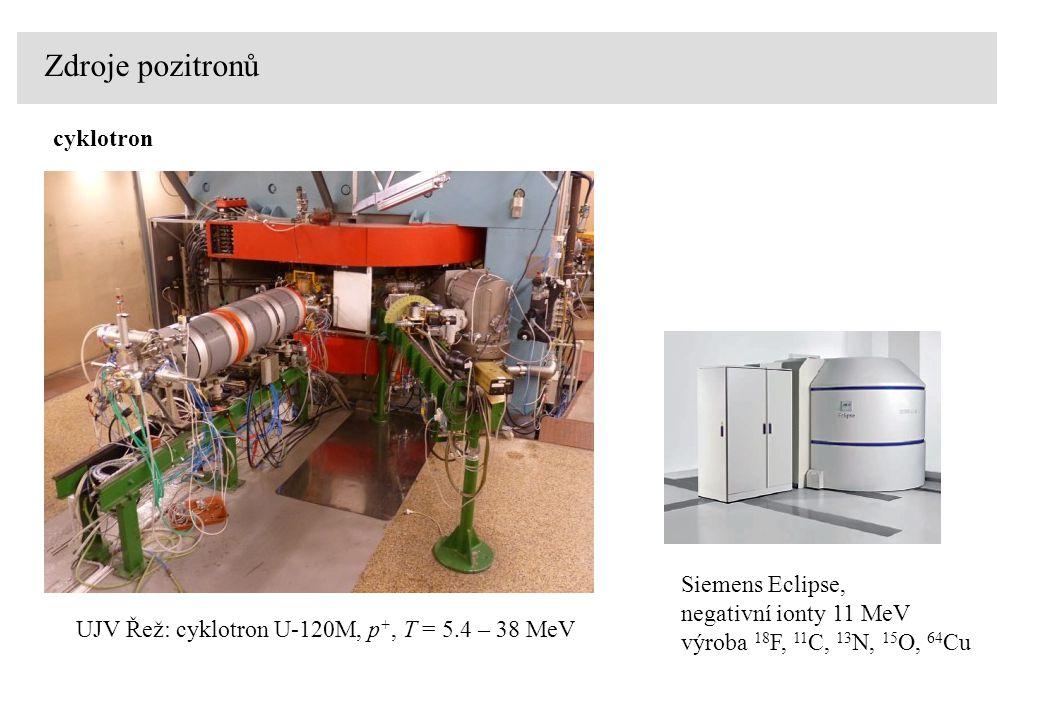 Zdroje pozitronů UJV Řež: cyklotron U-120M, p +, T = 5.4 – 38 MeV cyklotron Siemens Eclipse, negativní ionty 11 MeV výroba 18 F, 11 C, 13 N, 15 O, 64
