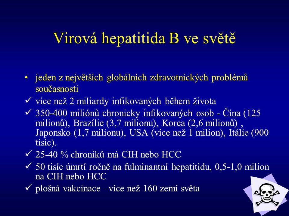 Virová hepatitida B ve světě jeden z největších globálních zdravotnických problémů současnosti více než 2 miliardy infikovaných během života 350-400 m