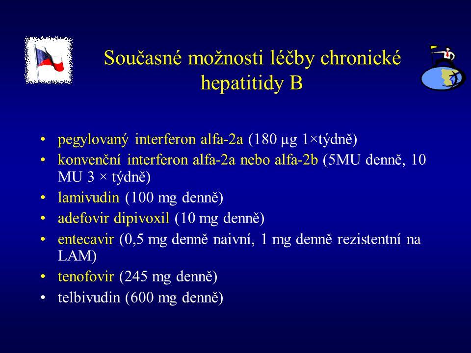 Současné možnosti léčby chronické hepatitidy B pegylovaný interferon alfa-2a (180 µg 1×týdně) konvenční interferon alfa-2a nebo alfa-2b (5MU denně, 10