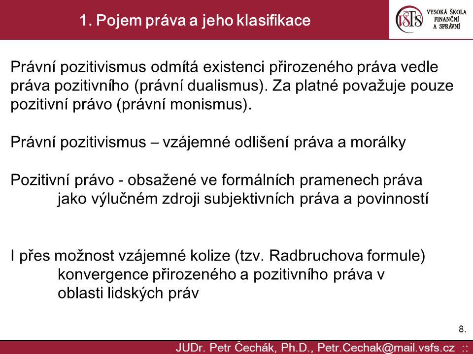 8.8. JUDr. Petr Čechák, Ph.D., Petr.Cechak@mail.vsfs.cz :: 1. Pojem práva a jeho klasifikace Právní pozitivismus odmítá existenci přirozeného práva ve