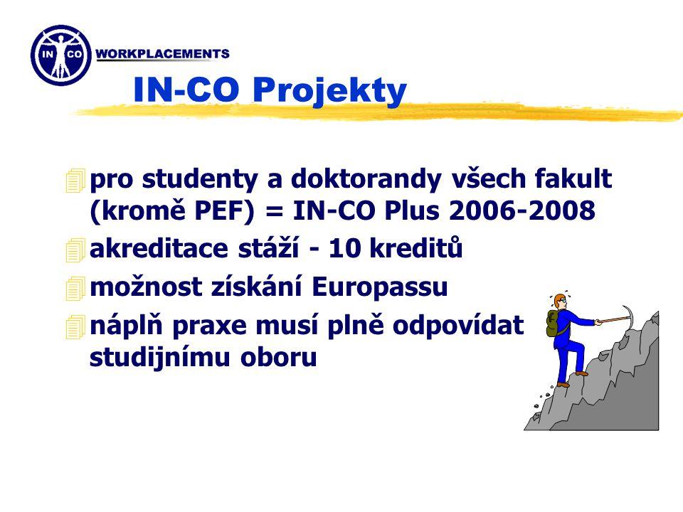 IN-CO Projekty 4pro studenty a doktorandy všech fakult (kromě PEF) = IN-CO Plus 2006-2008 4akreditace stáží - 10 kreditů 4možnost získání Europassu 4náplň praxe musí plně odpovídat studijnímu oboru