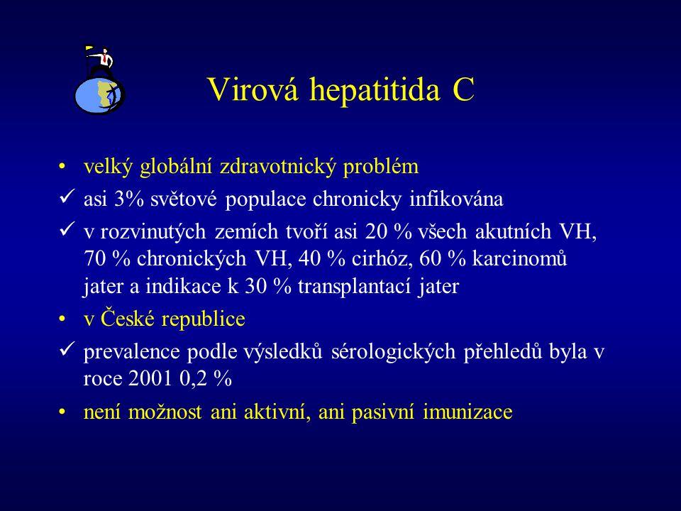 Virová hepatitida C velký globální zdravotnický problém asi 3% světové populace chronicky infikována v rozvinutých zemích tvoří asi 20 % všech akutníc