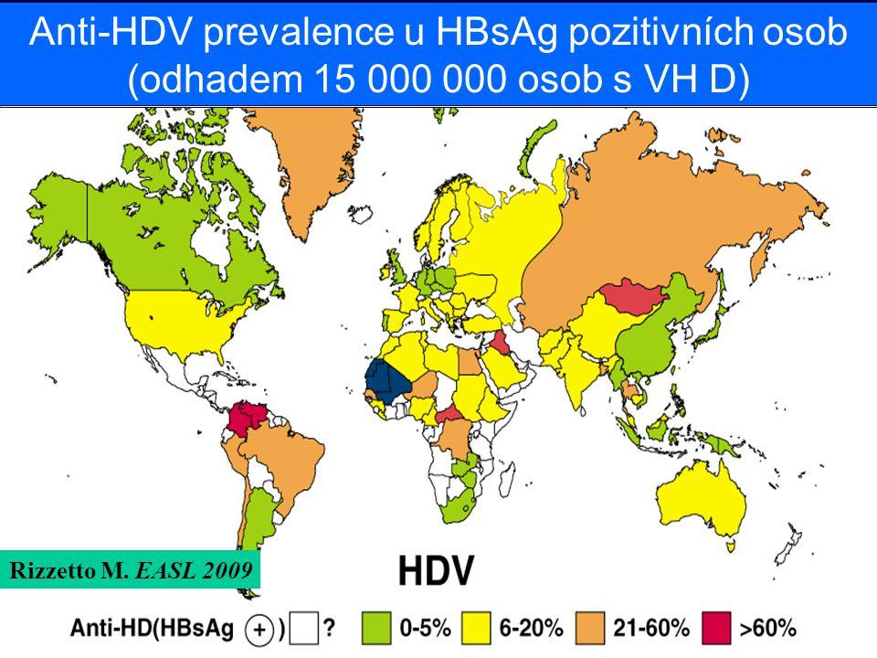 Anti-HDV prevalence u HBsAg pozitivních osob (odhadem 15 000 000 osob s VH D) Rizzetto M. EASL 2009