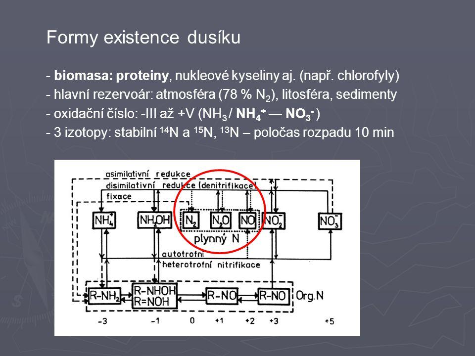 Formy existence dusíku - biomasa: proteiny, nukleové kyseliny aj.