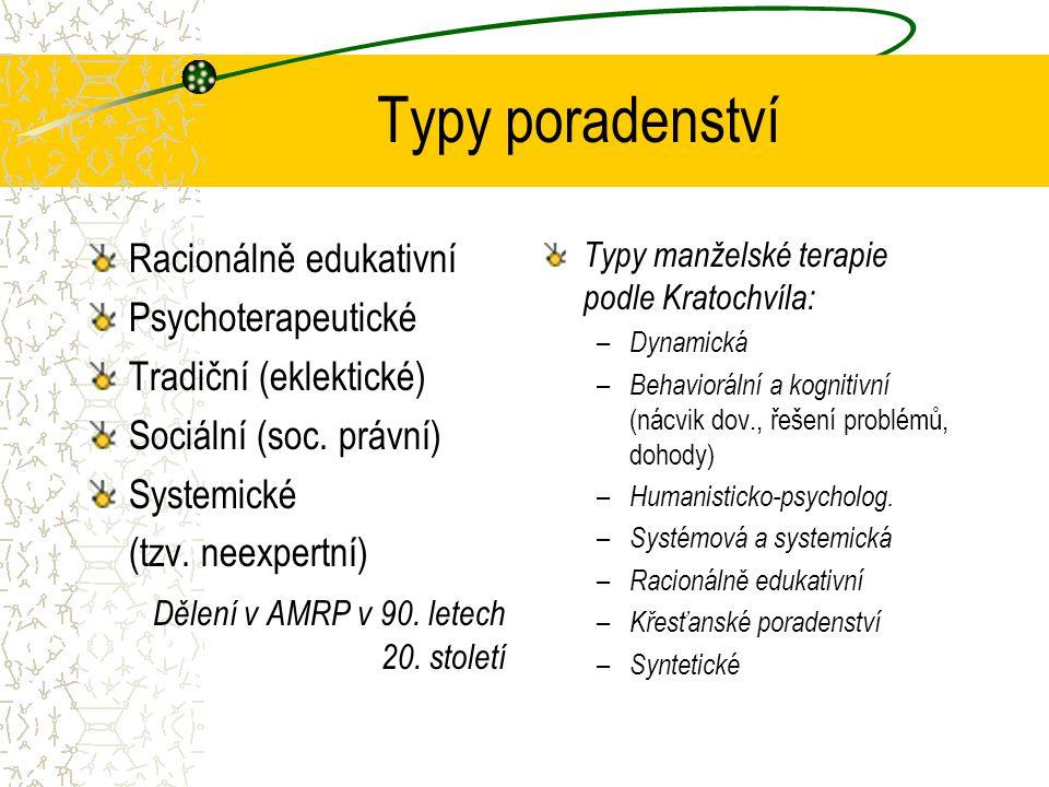 Typy poradenství Racionálně edukativní Psychoterapeutické Tradiční (eklektické) Sociální (soc.
