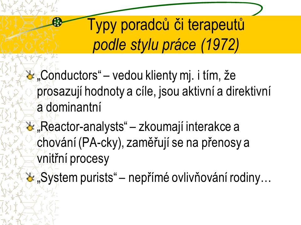 """Typy poradců či terapeutů podle stylu práce (1972) """"Conductors – vedou klienty mj."""