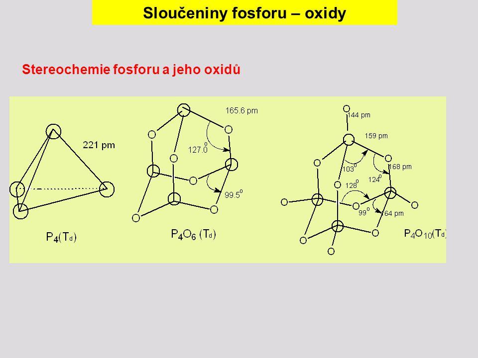 Stereochemie fosforu a jeho oxidů Sloučeniny fosforu – oxidy