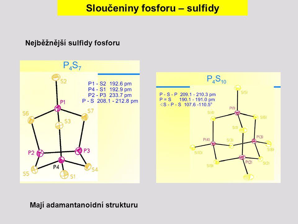 Mají adamantanoidní strukturu Nejběžnější sulfidy fosforu