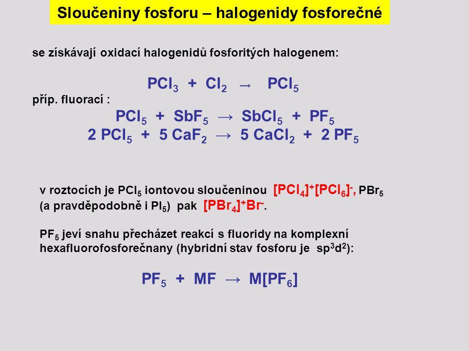 se získávají oxidací halogenidů fosforitých halogenem: PCl 3 + Cl 2 → PCl 5 příp. fluorací : PCl 5 + SbF 5 → SbCl 5 + PF 5 2 PCl 5 + 5 CaF 2 → 5 CaCl