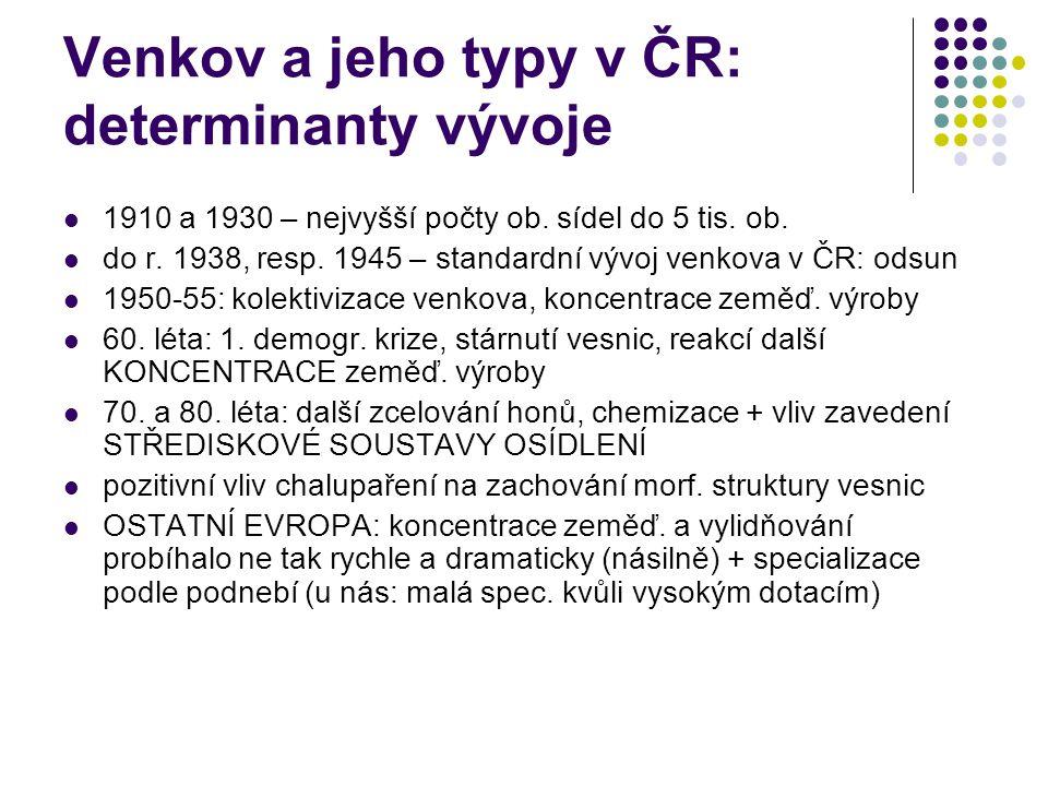 Venkov a jeho typy v ČR: determinanty vývoje 1910 a 1930 – nejvyšší počty ob. sídel do 5 tis. ob. do r. 1938, resp. 1945 – standardní vývoj venkova v